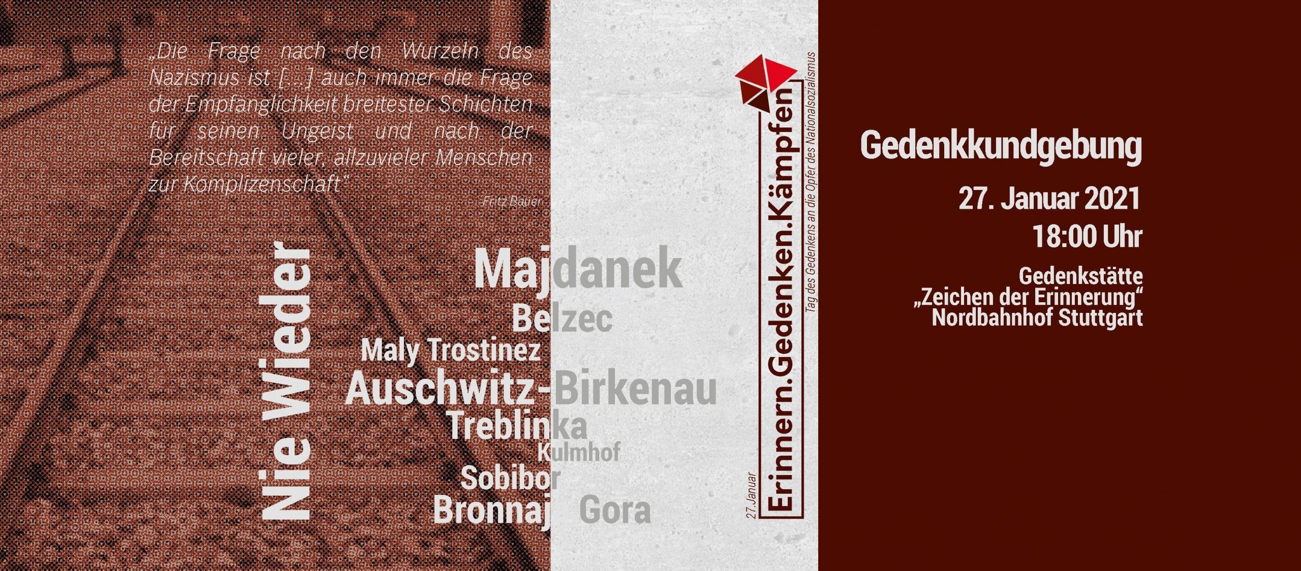 Online-Gedenken am Tag des Gedenkens an die Opfer des Nationalsozialismus