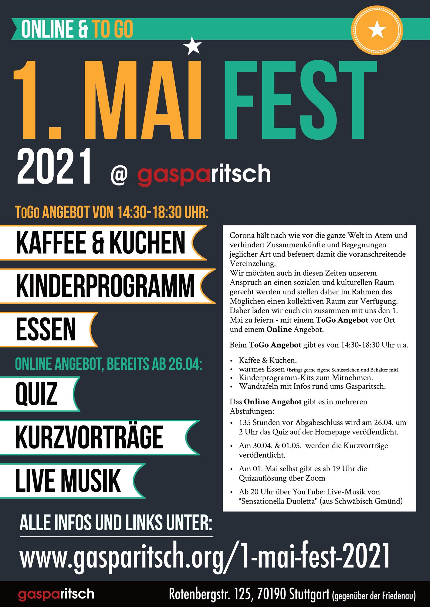 1. Mai Fest 2021 – Online & ToGo Angebot